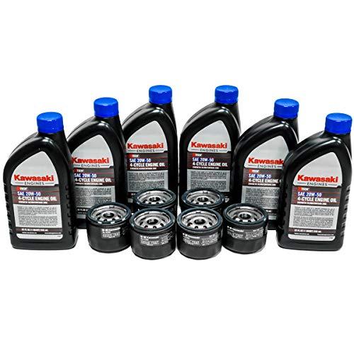 6PK OEM Kawasaki 20W50 Motor Engine Oil 99969-6298 49065-7007 Oil Filter Kit