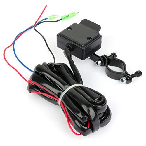 TUPARTS 12V ATV UTV Winch Rocker Thumb Handle Bar Switch Control Black Wire Kit3M