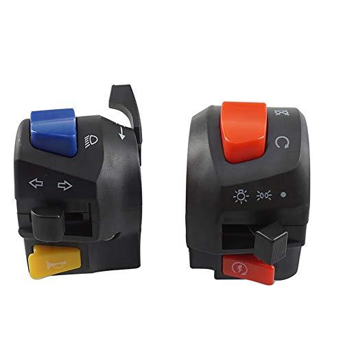 ZHOUQINMEI 7822mm Motorcycle Handle Bar Switches Horn Turn Signaling Headlight Fog Light Galvanizing Start Handlebar Controller Switch Color  Black