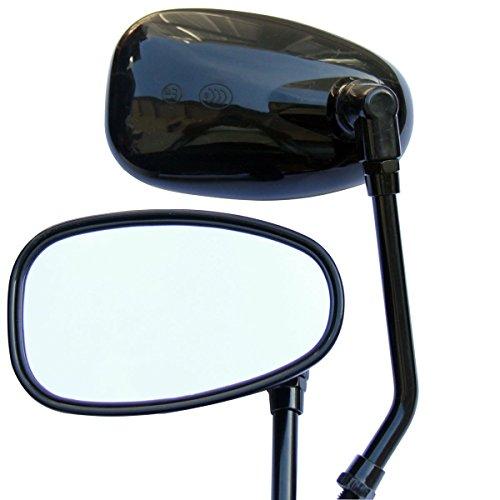 Black Oval Rear View Mirrors for 2002 Yamaha V Star 650 XVS650 Custom