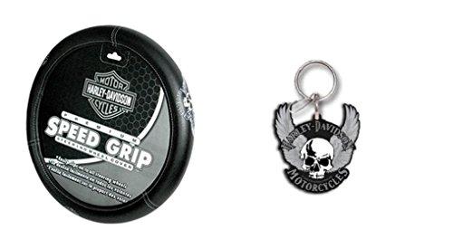 Harley-Davidson Skull Steering Wheel Cover and Keychain Bundle - 2 items