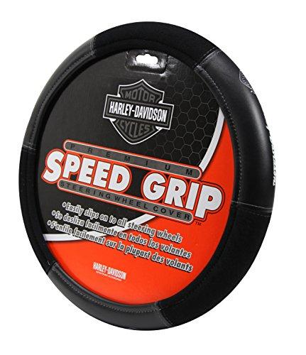 Plasticolor 006450R01 Black Steering Wheel Cover Harley Speed Grip