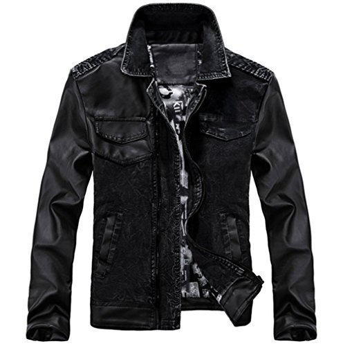 Jinmen Mens Moto Biker Faux Leather  Denim Vintage Jacket X-Large  US Medium Black