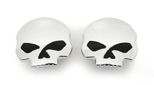 Skull Chrome Screw-in Gas Caps For Harley-davidson Fuel Tanks (set Of 2)