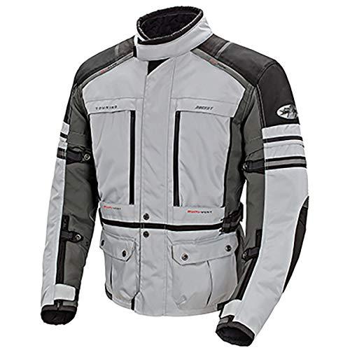 Joe Rocket Ballistic Adventure Mens Textile Touring Motorcycle Jacket SilverGunmetal Medium