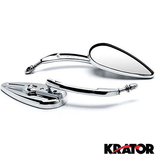 Krator Chrome Skeleton Skull Motorcycle Mirrors Universal For Harley Davidson XL 883 Hugger Sportster