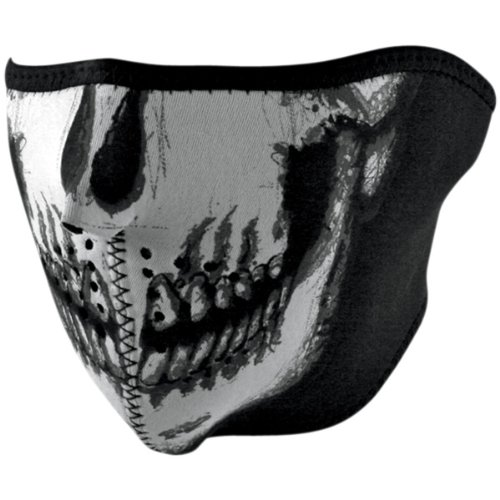 Zan Headgear Skull Face Mens Glow in the Dark Half Face Mask Harley Motorcycle Helmet Accessories - One Size Fits Most
