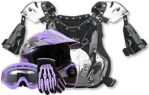 Youth Peewee Offroad Gear Combo Helmet Gloves Goggles Chest Protector Motocross Atv Dirt Bike Purple - Medium