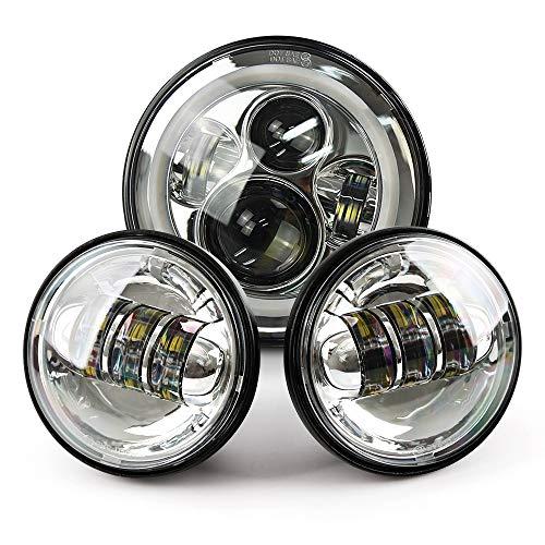 Harley 7 Chrome LED Headlight Halo Headlamp  2x 4-12 Chrome LED Auxiliary Spot Fog Passing Light Lamp For Harley Motorcycle