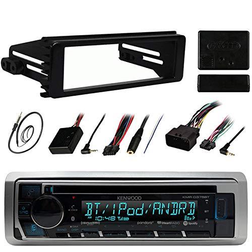 Kenwood Stereo Receiver CD MP3 Player - Bundle Combo wMetra DIN Dash Installation Kit  Handle Bar Control Module  Enrock 22 AMFM Radio Antenna for 98-13 Harley Motorcycles