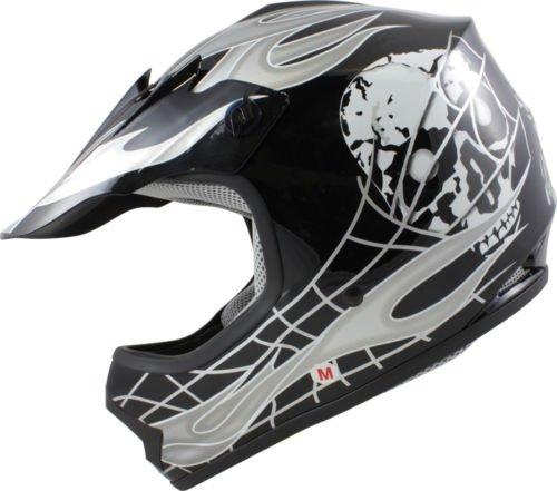 Youth Kids BlackSilver Skull Dirt Bike Flame Motocross Off-Road MX ATV Helmet Large
