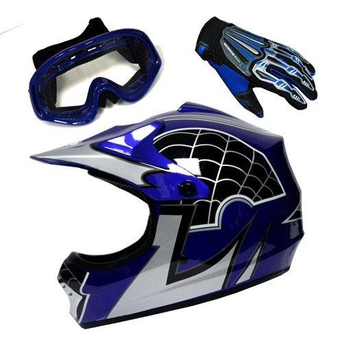Youth Motocross Helmet MX BMX Bike Spider Blue Helmet Size Large  Goggle  Skeleton Glove Size Small