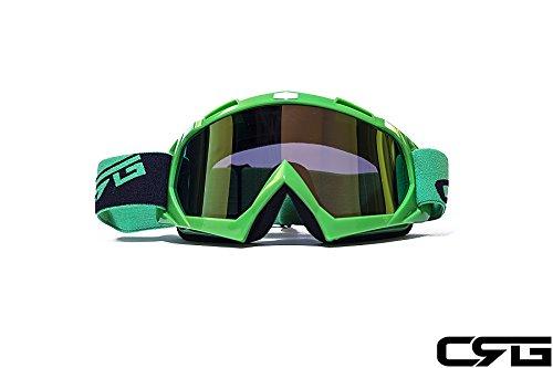 Crg Sports Motocross Atv Dirt Bike Off Road Racing Goggles Green T815-7-5a T815-7-5a Multi-color Lens Green Frame
