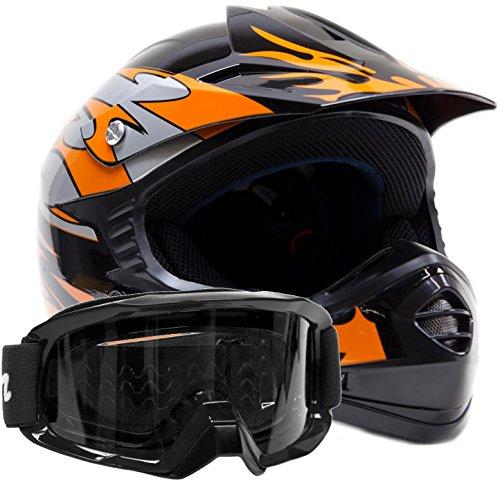 Youth Off Road Helmet & Goggles Gear Combo - Black Orange (large)