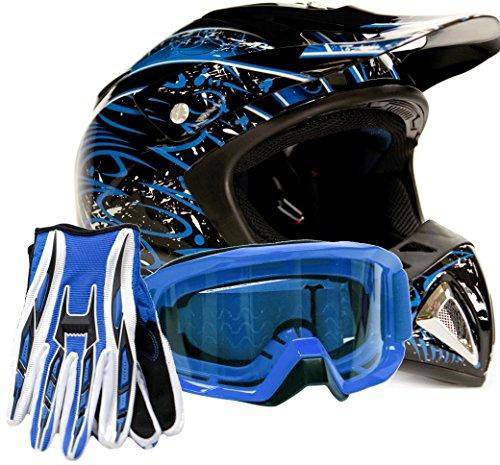 Adult Offroad Helmet Goggles Gloves Gear Combo Dot Motocross Atv Dirt Bike Mx Black Blue Splatter ( Small )