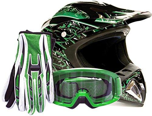 Adult Offroad Helmet Goggles Gloves Gear Combo Dot Motocross Atv Dirt Bike Mx Black Green Splatter ( Xl )