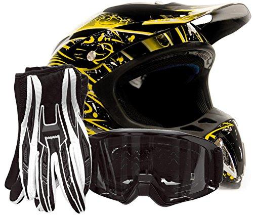 Adult Offroad Helmet Goggles Gloves Gear Combo Dot Motocross Atv Dirt Bike Mx Black Yellow Splatter ( Xxl )