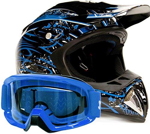 Adult Offroad Helmet & Goggles Gear Combo Dot Motocross Atv Dirt Bike Mx Black Blue Splatter ( Xxl )