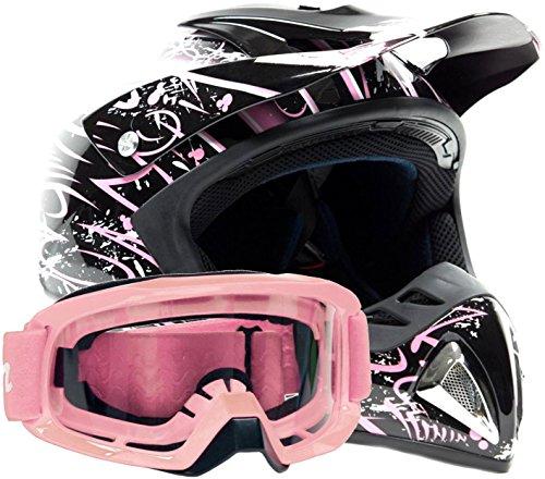 Adult Offroad Helmet & Goggles Gear Combo Dot Motocross Atv Dirt Bike Mx Black Pink Splatter ( Small )