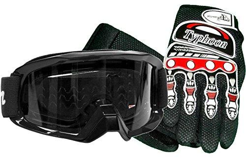 Typhoon Adult Glove & Goggle Combo Motocross Offroad Atv Mx Dirt Bike - Black / Red - Xl