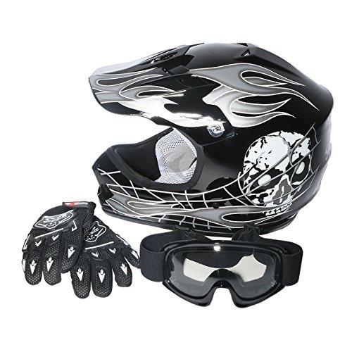 TCMT Dot Youth Kids Motocross Offroad Street Helmet Black Skull Motorcycle Helmet Silver Dirt Bike HelmetGogglesgloves M