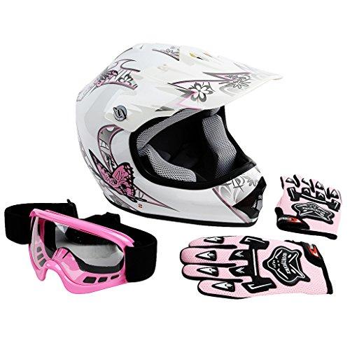 XFMT Youth Kids Motocross Offroad Street Dirt Bike Helmet Goggles Gloves Atv Mx Helmet Pink Butterfly M