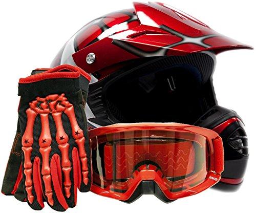 Youth Offroad Gear Combo Helmet Gloves Goggles DOT Motocross ATV Dirt Bike MX Spiderman Red Medium