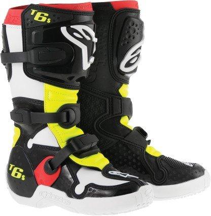 Alpinestars Tech 6s Youth Mx Boots Black/red/yellow 2 Usa