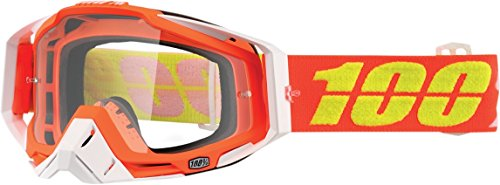 100 Unisex-Adult RedYellow Razmataz Racecraft MX Motocross Goggles With Clear Lens RedLight BlueOne Size Fits Most