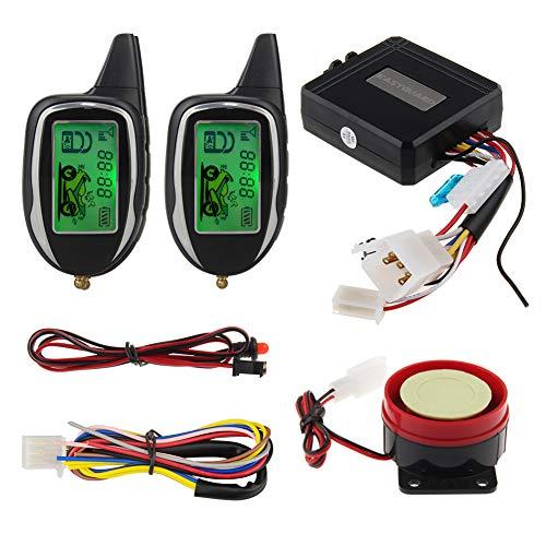 EASYGUARD EM208-2 2 Way LCD Display Motorcycle Alarm System with Remote Engine Start Motion Sensor Built in Shock Sensor DC12V