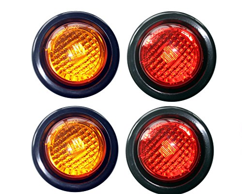 2 Amber 2 Red LED 2 Round ClearanceSide Marker Light Kits with Light and Grommet Truck Trailer RV Pack of 4