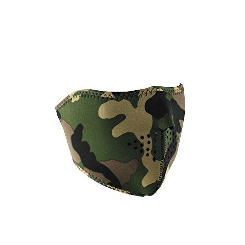 ZANheadgear Neoprene Half Face Mask Woodland Camouflage