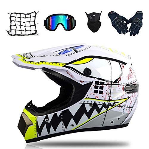 WLPAK Motocross DOT Certification Youth Motocross Helmet Off-Road ATV Motorcycle MX Children Motocross Mx Helmet Youth ATV Motocross Helmet Goggles Sports Gloves Helmet Mesh Bag S