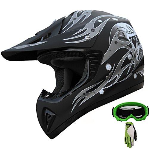 ATV Motocross Helmet Dirt Bike Motorcycle A81 Matt Blackgreen gogglesgloves L