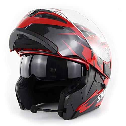 Adult Racing Road Racing Motorcycle Bluetooth Helmet Motorcycle Full face HelmetCromwell Helmet Jet Double Mirror Modular flip Helmet S M L XL XXL red