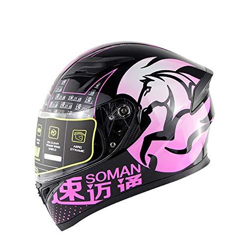 BHQF DOT Standard Motorcycle Racing Helmet Men and Women Riding Personality Helmet Jet Double Mirror Modular flip Helmet M L XL XXLPinkXXL