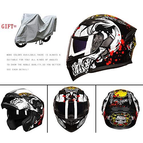 MMGIRLS Motorcycle Double Lens flip Helmet Motorcycle Crash Helmet Adult Four Seasons Motorcycle Helmet Gift car Cover - Black PrintXL