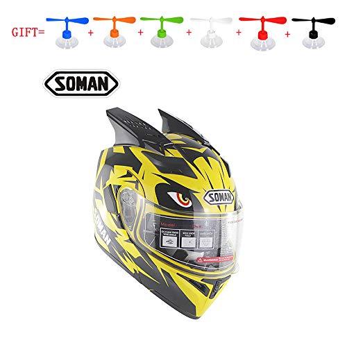 MMGIRLS Motorcycle Open Face Helmet - Modular Flip Helmet Mens Four Seasons Cycling Racing Full Helmet Gives Personalized Rotating LeavesM