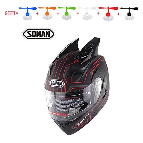 MMGIRLS Open Motorcycle Helmet - Modular Flip Helmet for Men and Women Four Seasons Cycling Racing Full Helmet Gives Personalized Rotating LeavesXXL