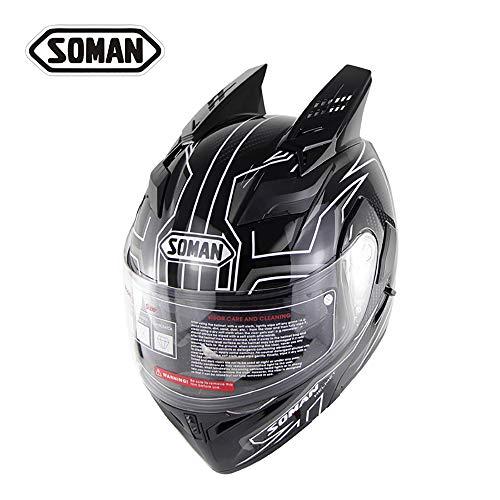 MMGIRLS Premium Motorcycle Helmet - Modular Flip Helmet Junior Cross Country Riding Helmet Black and White StripesXL