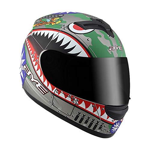 TANMIN Motorcycle Flip Full-Face Jet Collision Modular Helmet DOT Certified Men and Women Road Racing Motorcycle Helmet Jet Brown Mirror Flip Helmet Cartoon Shark