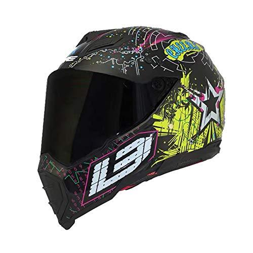 TANMIN Motorcycle Flip Full-Face Jet Collision Modular Helmet DOT Certified Men and Women Road Racing Motorcycle Helmet Jet Brown Mirror Flip Helmet Color GraffitiL57~58cm