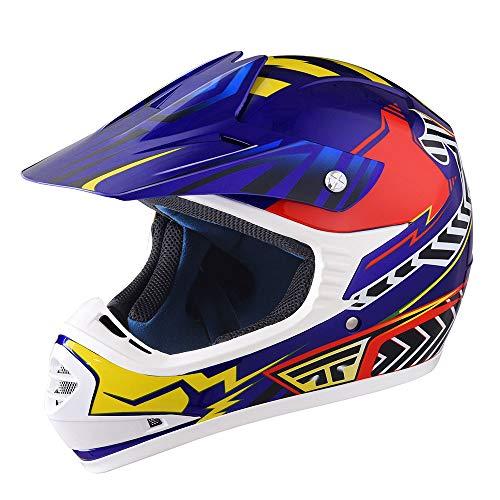 AHR DOT Youth Motocross Helmet Full Face Offroad Dirt Bike Helmet Motorcycle ATV Mountain Bike Outdoor Sports L