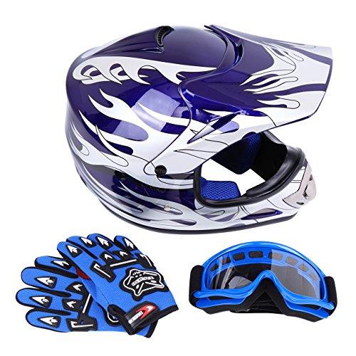Sange DOT Youth Kids Offroad Helmet Motocross Helmet Dirt Bike ATV Motorcycle Helmet Gloves Goggles Blue Large