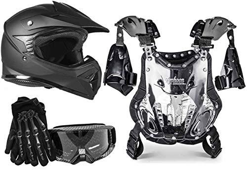 Typhoon Youth Motocross Helmet Gear Combo - Matte Black Carbon Fiber Medium