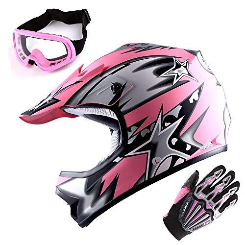 WOW Updated Youth Motocross Helmet Kids Motorcycle Bike Helmet Matt Star Pink  Goggles  Skeleton Pink Glove Bundle