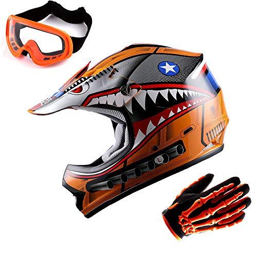 WOW Updated Youth Motocross Helmet Kids Motorcycle Bike Helmet Shark Orange  Goggles  Skeleton Orange Glove Bundle