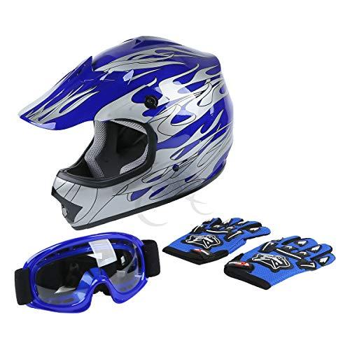 TCT-MT DOT Helmet MotocrossGogglesGloves Youth Kids Helmet Blue Flame Dirt Bike ATV Helmets Large