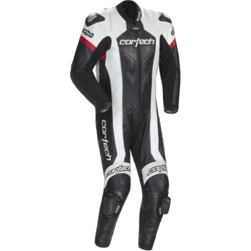 Cortech Adrenaline Mens 1-Piece Leather Sports Bike Racing Motorcycle Race Suit - BlackWhite  Medium