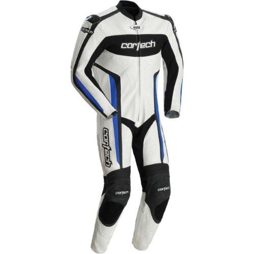 Cortech Latigo RR Mens 1-Piece Leather Street Racing Motorcycle Race Suit - WhiteBlue  Medium